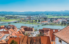 Panoramic view from Ptuj Castle over Drava river, Slovenia (wuestenigel) Tags: view niceday slovenia travel city dravariver europe castle ptuj architecture diearchitektur noperson keineperson reise water wasser roof dach town stadt dorf house haus seashore strand sea meer building gebäude outdoors drausen summer sommer sky himmel cityscape stadtbild sight sicht vacation ferien traditional traditionell family familie tourism tourismus