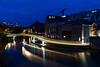 Barge Trails (Sarah Marston) Tags: bristol barge lighttrails traffictrails bluehour blue dusk bridge lights crane reflections riveravon avon sony ilce6300 april 2018