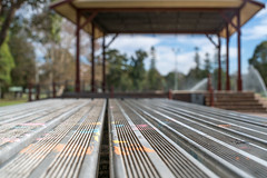 Picnic lines (OzzRod) Tags: sony a7rii smcpentaxfa43mmf19ltd geometry lines angles bokeh picnic table shelter speerspoint lakemacquarie dailyinmay2018