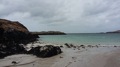 Out to sea, Bostadh Beach, Great Bernera, April 2018 (allanmaciver) Tags: bostadh beach great bernera western isles outer hebrides grey rocks drizzle rain damp edge low view sea water cold allanmaciver