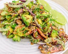 Wednesday dinner. Bacon and fennel salad. (garydlum) Tags: sesameseeds poppyseeds avocado limejuice redonion streakybacon friedshallots springonions baconfat fennel limezest bacon fennelsalad belconnen australiancapitalterritory australia au