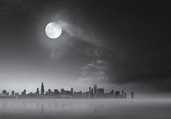 december (momozart) Tags: chicago chicity chitown architecture architectural city cityscape windycity lake clouds cloudy skies sky moon moody moonrise momozart moonlight urban artsy light storm reflection