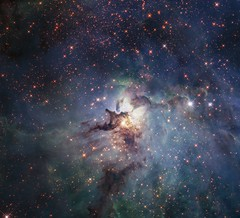 Hubble's Lagoon in Visible & Near-Infrared (geckzilla) Tags: hubble hst anniversary visible nearinfrared nebula dust gas starformation lagoon m8 messier8 propid15449 15449