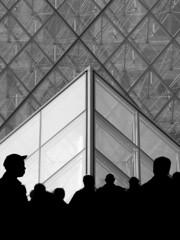 Louvre Pyramid 2 (RobertLx) Tags: architecture city glass shadows contrast monochrome bw people lines black paris museum louvre pyramid france europe tourism tourists