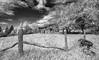 Keeney Mountain Barn_BW (Bob G. Bell) Tags: barn abandoned wv keeneymountain fence posts skyclouds ir bw bobbell xt1 fujifilm