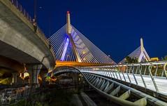 The Leonard P. Zakim Bunker Hill Memorial Bridge, Boston (Helen Mulvey) Tags: design architecture leadinglines outdoor landscape d5100 nikon longexposure skyline cityscape city night boston zakimbridge