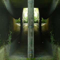Tunnel (offroadsound) Tags: tunnel water wasser reflection bridge underpass duplication symmetry illusion illusionscape river channel curves
