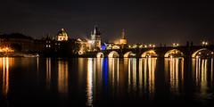 Prague at night (hjuengst) Tags: prag prague czechrepublic tschechien night nightshot nacht nachtaufnahme brücke bridge charlesbridge karlsbrücke streetlight strasenlampe panorama