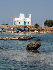 Saint Nicholas chapel. (CWhatPhotos) Tags: cwhatphotos tags tag church saint nicholas protaras white sea beach sand water blue holiday digital camera pictures picture image images photo photos foto fotos that have which contain olympus st nicolaosbchurch chapel seafront golden coast hotel prayer wedding weddings sky skies doors door windows window wall walls sunny day cyprus eastern