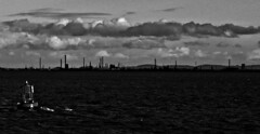 Industrial Mersey (1) (ronramstew) Tags: bw blackandwhite liverpool mersey merseyside river spring evening buoy industry clouds