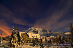 Winter Night Photography Over Paradise Lodge and Mt Rainier From Mt Rainier National Park, Washington (@randalljhodges) Tags: winter nightphotography mtrainier paradiselodge mtrainiernationalpark washington volcano cascades cascademountains cascaderange stars starphotography