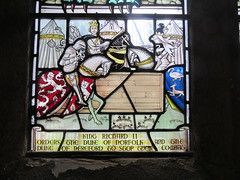 Historical Scene - Stoke St Michael Church Coventry (LookaroundAnne) Tags: henrybolingbroke dukeofhereford thomasmowbray dukeofnorfolk combat joust duel henryiv richardii gosfordgreen coventry stokestmichaelchurch stoke wrs walsgraveroad stainedglass church window knights armour kingrichardii
