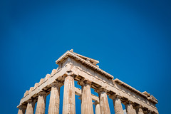 The tip of the Parthenon (nicktoumpelis) Tags: greece athens greek landmark ancient architecture culture akropolis parthenon classical columns democracy blue sky symbol summer clear day travel traveling tourism city urban temple