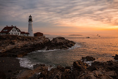 Portland Head Sunrise Final (ProPeak Photography - Thanks for 600,000 views!) Tags: america architecture atlanticocean birds blue boat buildings cascobay clouds coast famousplace fisherman green gulfofmaine horizon iconic internationallandmark lighthouse maine nationalregisterofhistoricplaces nature newengland northamerica ocean orange portland portlandheadlighthouse red rocks seascape shoreline spring sunrise touristattraction traveldestination travelandtourism usa unitedstates water waves yellow