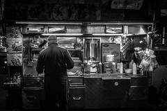 Chicken Gyro (Phil Roeder) Tags: newyorkcity nyc manhattan blackandwhite monochrome night nighttime food vendor