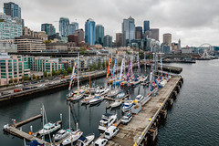 Seattle SkyLine (Jill Clardy) Tags: 2018 cruise ncl norwegiancruiselines repositioning 201804299l8a4395hdr seattle skyline pier port sailboats highrises overcast gray day washington 365the2018edition 3652018 day119365 29apr18