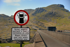Runaway truck sign (PentlandPirate of the North) Tags: confessions sign dam stwlan blaenauffestiniog northwales sheepdip victorian warning sillyboyhoodhumour graffiti