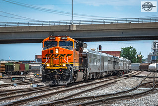 Westbound BNSF Officer Special Passenger Train at North Kansas City, MO