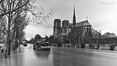 Paris - La Seine en crue (stephane_p) Tags: paris blackandwhite blackwhite bw darktable longexposure longuepose monochrome nb noirblanc noiretblanc sigma1835 pentaxart
