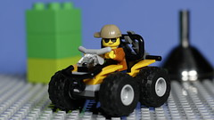 Just out tooling around (N.the.Kudzu) Tags: tabletop lego atv macro minifigures flash primelens canondslr canon50mmf18