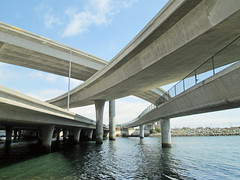 Crossing (desert hiker) Tags: freeway bridge channel water bayshorebikeway