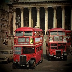 London transport RT4671 & RTW49  Royal Exchange 1950's. (Ledlon89) Tags: rt rtbus aecregent leylandtitan rtw london bus buses lt lte londonbus londonbuses vintagebuses oldlondon londontransport transport