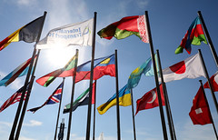 The ITF and member country flags blowing in wind