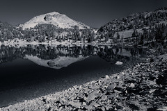 Lake Helen (ttarpd) Tags: ca california united states america us usa travel roadtrip lassen volcanic national park steaming fumaroles meadows wildflowers mountain lakes volcanoes jagged peaks hydrothermal area black white bw blackandwhite blackwhite monochrome mono reflection
