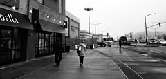 The Fog (Robert S. Photography) Tags: street scene bw fog rain people monochrome mall signs sidewalk vehicles brooklyn newyork kingsplaza sony dscwx150 iso100 april 2018