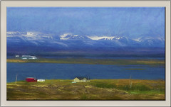 Northern Iceland (williamwalton001) Tags: iceland pentaxart mountains moorlands meadows snow buildings borders framed fineart farmbuilding