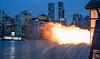 Ka-Boooom - 9 O'Clock Gun (Sworldguy) Tags: 9oclockgun stanleypark vancouver canada boom seawall bluehour cityscape skyline citylights cannon blast flame urban nightscene warning