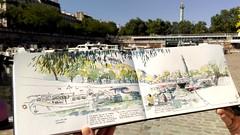 Paris, port de l'Arsenal (velt.mathieu) Tags: paris sketch croquis mathieuvelt 스케치 수채화 aquarelle été summer