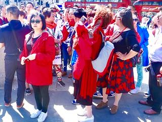 Trafalgar Square tourists: a joyful space in central London.