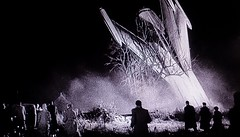 "The manned rocket returns to earth, crashing into an English country field, in ""The Quatermass Xperiment"" (1955) (lhboudreau) Tags: british movie britishmovie britishproduction motionpicture film classicmovie classicsciencefictionmovie sciencefictionfilm sciencefiction scifi classicsciencefiction sciencefictionhorrorfilm 1955 screenshot scarymovie featurefilm hammerfilms spaceship hammerfilmproductions hammerfilm hammer quatermass professorquatermass experiment quatermassxperiment thequatermassxperiment thecreepingunknown creepingunknown bernardquatermass professorbernardquatermass quatermassrocket flightintospace crashlanding mannedrocket rocket rocketship blackwhite blackandwhite monochrome uk unitedkingdom infection mutation infected victorcarroon people alienorganism spaceflight creature tree englishcountryside field englishcountryfield country"