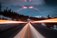 forward motion (Art by 2wenty) Tags: 2wenty night midnight mood moody cartrail light snow bigsky montana