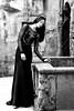 Patio encounter (piotr_szymanek) Tags: karolina karolinak blackandwhite portrait face longhair woman milf young skinny czocha castle dress 1k 20f 50f 5k 100f 10k