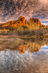 Cathedral Rock Reflected in Oak Creek near Red Rock Crossing in Sedona, Arizona (William Horton Photography) Tags: arizona cathedralrock golden nikon oakcreek redrockcrossing sedona autumn butte calm clouds color evening fall landscape lateafternoon nature outdoors redrock redrocks reflection reflections river sandstone scenic sunset vertical water unitedstates us