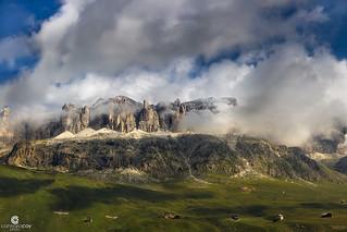 Stormy morning over Sella group. Picture taken from Passo Pordoi (2.239 m) - Veneto (Italia)