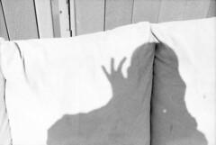 untitled (kaumpphoto) Tags: mamiya nc1000s ilford bw black white selfportrait cushion wood grain finger fingers