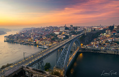 Dom Luis Bridge at sunset... (DaLiu_) Tags: scene road scenery scenic skyline riverfront river port porto portugal portuguese span street view valley vila water waterfront twilight traveldestination sunset touristattraction town townscape oporto nova de coast dom domluisbridge douro cityscape city architecture avenue bridge canal dusk europe luis luisibridge luiz night iberian iberia european evening famous gaia arch