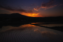 Japanese Spring Fire (jasohill) Tags: 2018 spring landscape sunset tohoku nature mountains city iwate red rice hachimantai photography life sky clouds paddy fire japan color