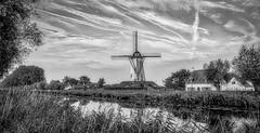 Windmill Monochrome (ΨᗩSᗰIᘉᗴ HᗴᘉS +21 000 000 thx) Tags: moulin windmill hdr monochrome blackandwhite river water bw yasminehens 7dwf