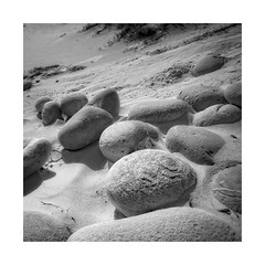 Collection of  Stones (memories-in-motion) Tags: collection stones beach sand square frame black white mono minmalism nature texture different canon balance silence ef1740mm 5dmarkiv