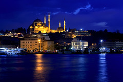 Istanbul - Turkey (Daniel Nebreda Lucea) Tags: night noche turkey turquia istanbul estanbul blue azul hour hora architecture arquitectura skyline ciudad city travel viajar light luz lights luces shadows sombras long exposure larga exposicion building edificio construccion religion god dios mosque mezquita composition composicion water agua reflection reflejo river rio sea mar canon 60 50mm sky cielo clouds nubes sunset atardecer street calle urban urbano urbana castle castillo palace palacion