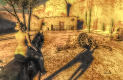 Once Upon A Time In The West (Milla DelRay) Tags: horse horses west mexico sonora sl secondlife desert cactus saguaro wheel wheels rock rocks cowgirl hut huts nature shadow shadows