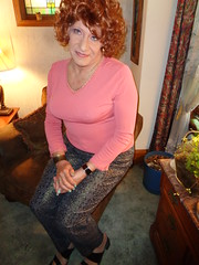 Housewife On Break (Laurette Victoria) Tags: leggings sweater curlt redhead laurette woman housewife