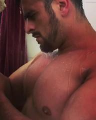 33 (Glistening Man) Tags: shower wet man guy skin water bodybuilder body muscles pecs