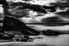 Un homme et son chien.../ A man with his dog... (vedebe) Tags: plage mer ocean bretagne humain chiens animaux paysages sable ciel noiretblanc netb nb bw monochrome