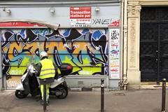Graffiti, Scooter (david ross smith) Tags: paris france graffiti art ad poster sign signage lesgrandsboulevards 11tharr 11tharrondissement sticker text scooter