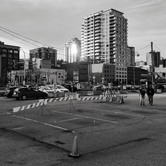 Sunset on the Quayside (Smekermann) Tags: blackwhite blackandwhite stark gritty construction urban architecture quadtone monochrome britishcolumbia newwestminster newwest downtownnewwest quayside street photography streetphotography vancouver square contrast phone iphone iphonephotography phonephotography